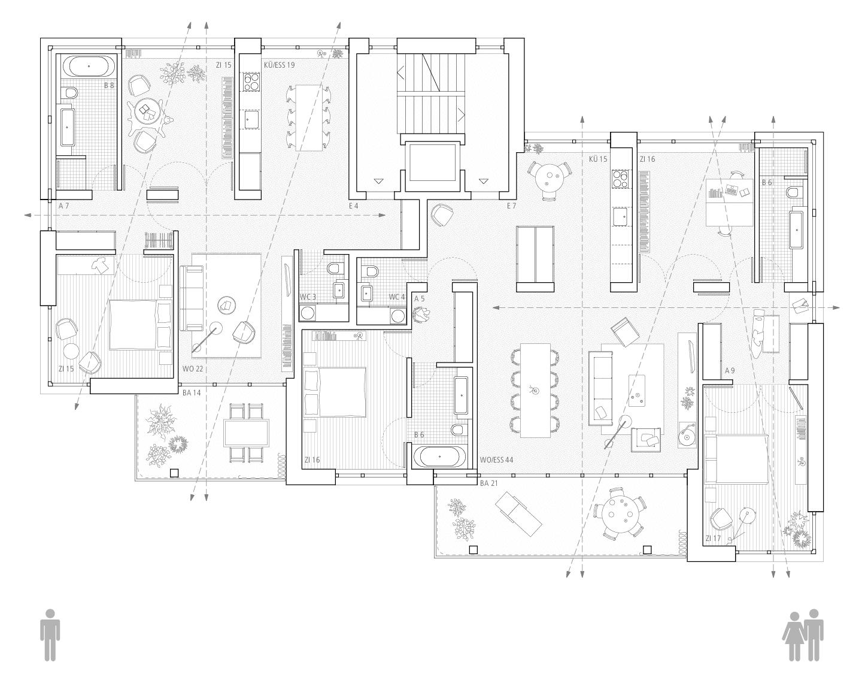 Grundrissvariation Paar- und Familienwohnung